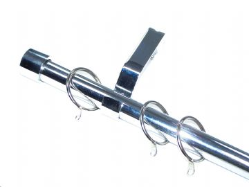 19mm Polished Chrome Curtain Pole System with End Cap Finials 1.2m 1.5m 2.4m 3m